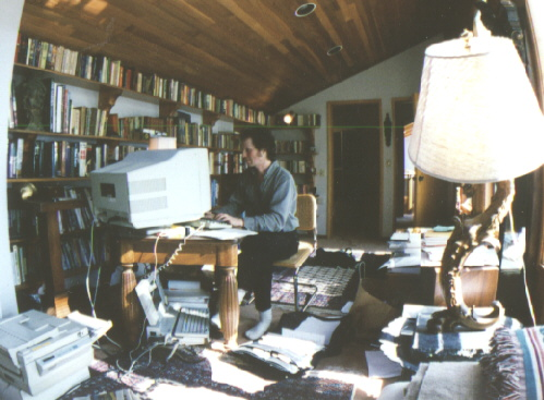 A typical day in the life of a writer - picture by Nikon self-timer - 1995